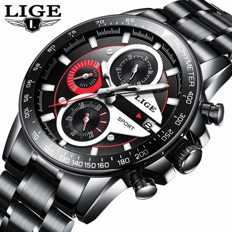 LIGE Fashion Quartz Sport Watch Men Business Full Steel Clock Mens Watches Top Brand Luxury Waterproof Watch Relogio Masculino lige mens watches top brand luxury man fashion business quartz watch men sport full steel waterproof clock erkek kol saati box
