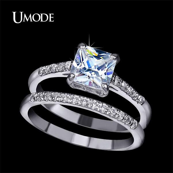 Umode Brand Engagement Ring Set Two Band 1 6 Carat Princess Cut