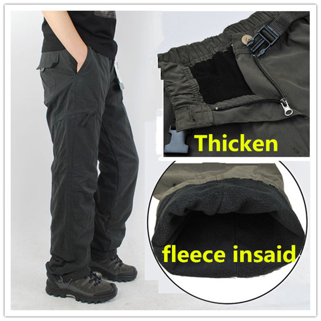 28057113a7964 Winter Fleece Lined Men's Cargo Double Layer Pants Warm Military Cargo Pants  Casual Long Baggy Army Outdoor Tactical Trousers