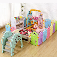 лучшая цена Portable Baby Playpen Foldable Indoor Kids Fence Plastic Ball Pool Children's Playpen Safety Baby Bed Fence Security Barrier