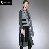 QUEENTOR 2017 marke oberbekleidung herbst frühling schlank fashion casual quaste woolen weste mantel frauen großhandel