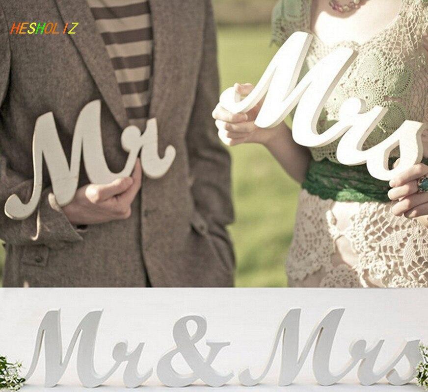 1 Set Mr & Mrs Huwelijksreceptie Solid Houten Letters Tafel Top Middelpunt Decoratie Trouwbedankjes Geschikt Voor Mannen, Vrouwen En Kinderen