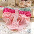 2016 Sexy Underwear Women Hollow Lace Lovely Crotchless Cotton Panties Seamless String Briefs Culotte Femme Calcinha Ropa Mujer