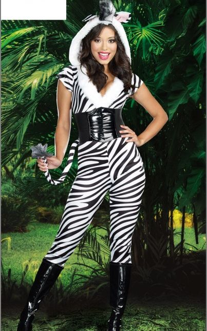 Halloween <font><b>Sexy</b></font> <font><b>Zebra</b></font> <font><b>Costume</b></font> 3S1139 Fashion Fur Animal <font><b>Costume</b></font> Wild <font><b>Zebra</b></font> Strip Catsuit Party <font><b>Costume</b></font> With Hood And Tail