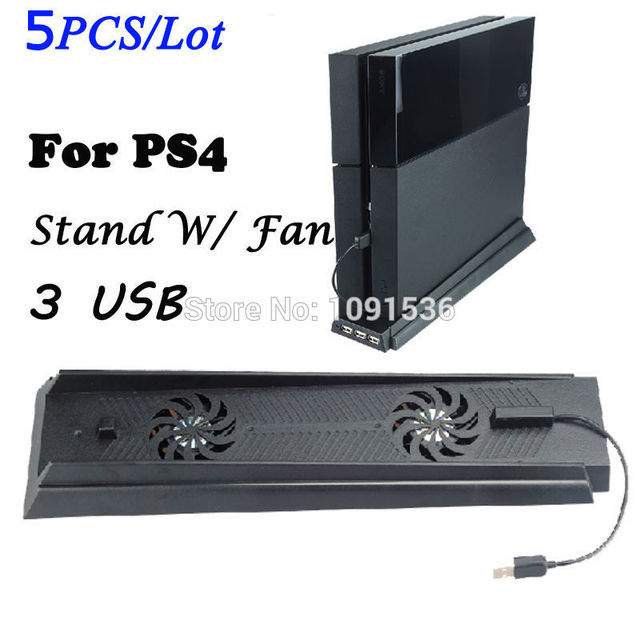 Multifunctional PS4 Vertical Stand With Fan 3 Port USB HUB Cooler For PS4 Console Black For Summer Days