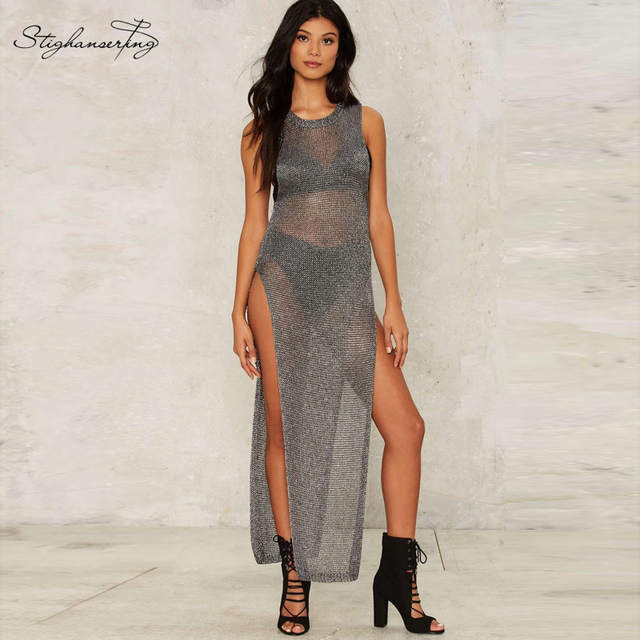 Stighanser ting Women Sweater Silver Sleeveless Side Slits Sheer Knitted Dress Sexy Party&Club Novety Sweaters
