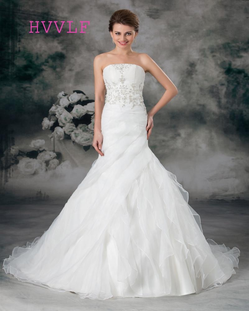 Strapless Mermaid Wedding Gown: Embroidery 2019 Wedding Dresses Mermaid Strapless Court