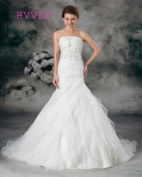 Embroidery 2019 Wedding Dresses Mermaid Strapless Court Train Ruffles Organza Boho Wedding Gown Bridal Dresses Vestido De Noiva
