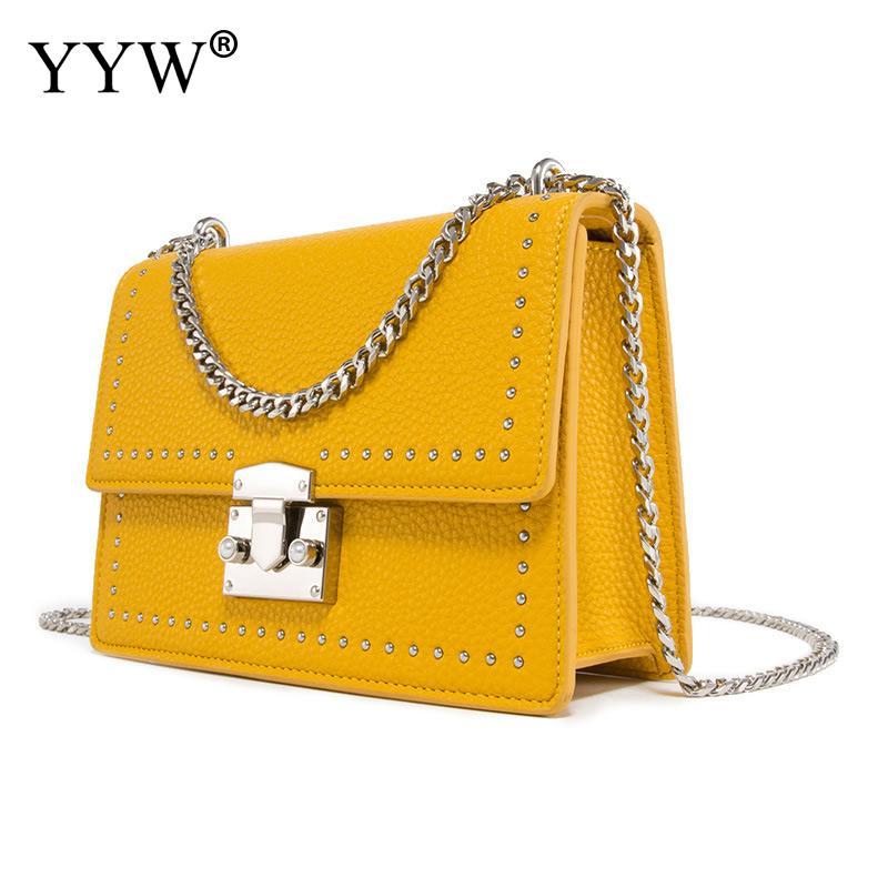 Sac à bandoulière jaune femmes Pu cuir été sac à bandoulière chaîne en or sacs à bandoulière pour femmes 2019 Mini Surface souple sac de mode