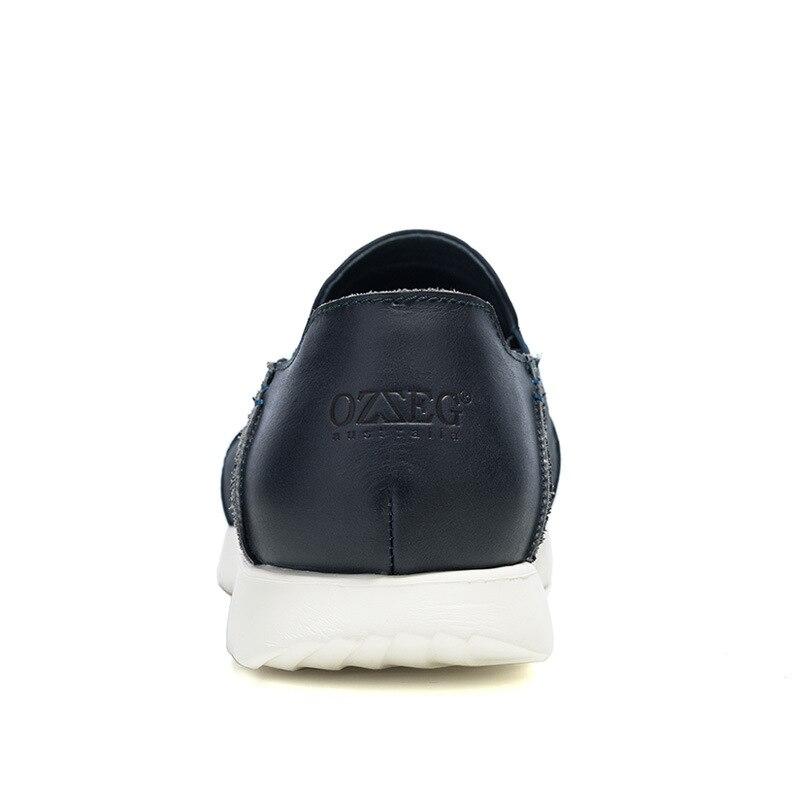 Cuir Mocassins De En bleu Solide Respirant Chaussures gris Souple Noir Véritable Confortable Plat Glissement Conduite Sur Hommes Casual wRtpn