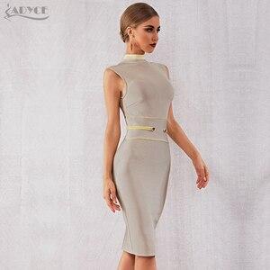 Image 5 - Adyce 2020 New Summer Bandage Dress Women Elegant Celebrity Evening Party Dress Vestidos Sexy Apricot Sleeveless Tank Club Dress