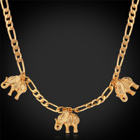 New Item Cute Charm Necklace Pendant 18K Real Gold Plated Lovely Elephant Necklace Fashion Jewelry Wholesale