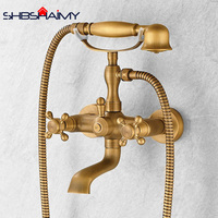 Antique Brass Wall Mounted Dual Handles Bathtub Faucet Swive Spout with Handshower Tub Mixer Tap
