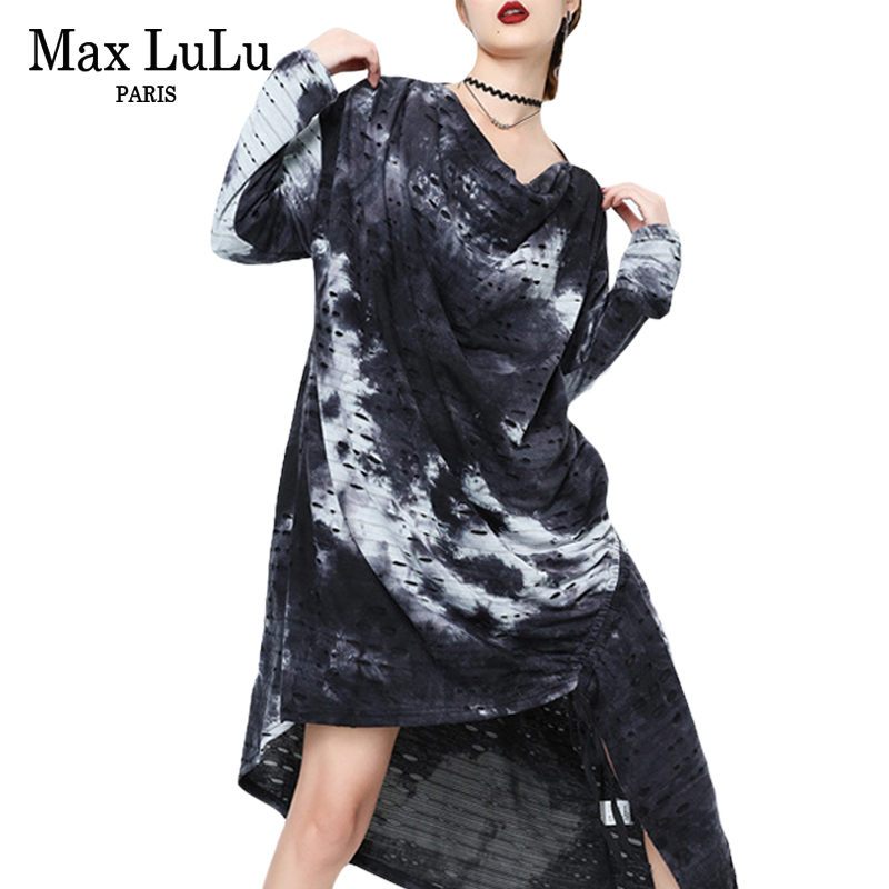 Max LuLu Luxury Korean Designer Girls Holes Streetwear Womens Camouflage Long Dresses Oversized Vestidos Ladies Casual Clothes