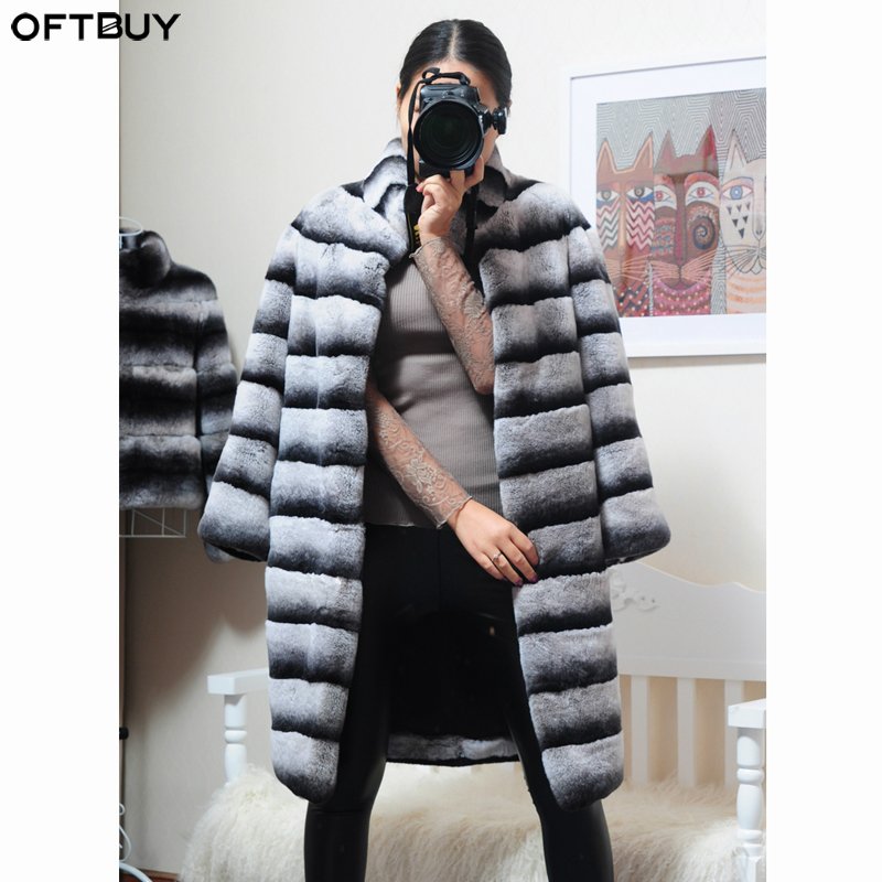 OFTBUY 2019 Luxury Witner Jacket Women Real Fur Coat Natural Rex Rabbit Fur Outerwear Striped Thick Warm Stand Collar Streetwear