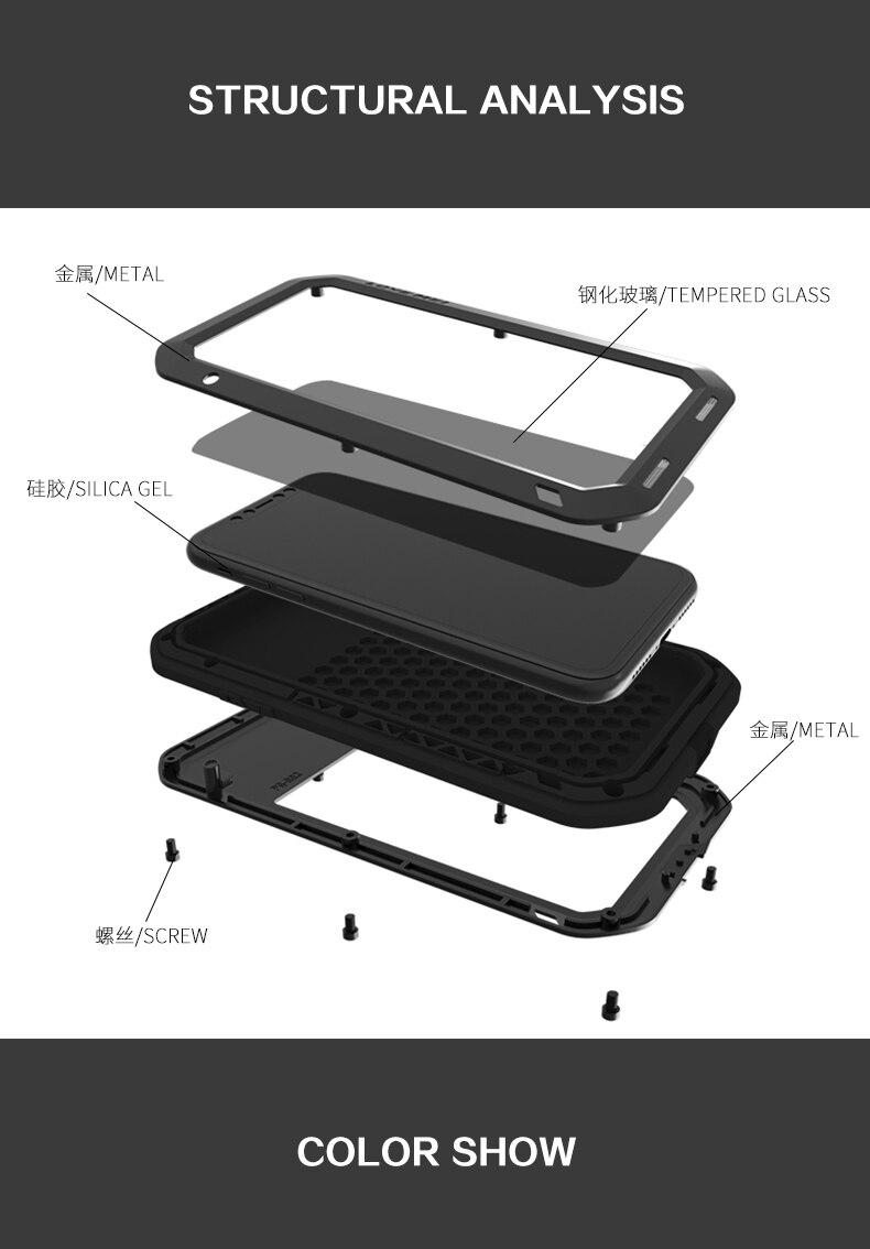 LOVE MEI étui pour iphone 8 6 6 s 7 Plus coque de téléphone pour iphone X XS Max XR coque de téléphone en aluminium étanche