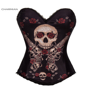 Image 4 - Charmian Sexy Steampunk Halloween Corset for Women Vintage Rock Overbust Corset Sugar Skull Egypt Style Printed Costume Bustier