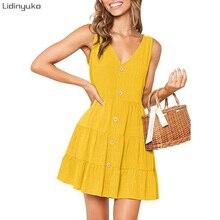 Sleeveless Backelss Sexy Deep V-neck Summer Dress Women 2019 Casual Spaghetti Strap Dresses Button Mini Sundress Female
