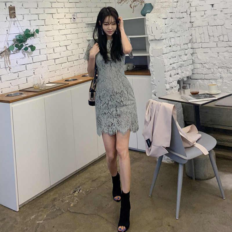 Новое летнее женское платье 2019, облегающее элегантное кружевное мини-платье с круглым вырезом, сексуальные Повседневные Вечерние бандажные платья в Корейском стиле, горячее зеленое платье