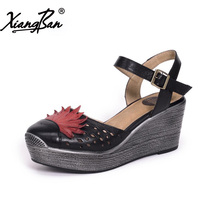 Xiangban Genuine Leather Women Platform Sandals Baotou Wedges Sandals Hollow Out Summer Shoes High Heel