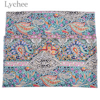 43a365cfd0 Lychee 100cmx140cm Paisley Ethnic Style Cotton Fabric Sewing Cloth Fabric  DIY Handmade Materials For Garments