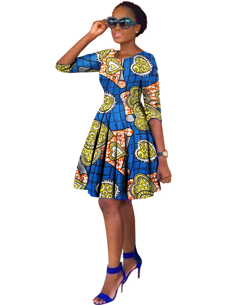 BRW Plus Size African Wax Print Dresses for Women Ball Gown Cotton Bazin Riche Dashiki Dress African Clothes for Women WY816 plus size butterfly print ball gown dress