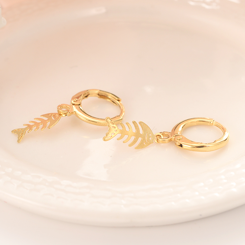 Bangrui cute fish Gold Color Copper Earring Women/Gril Gift Lovely Cute Animal Charm Jewelry kids gift diy charms