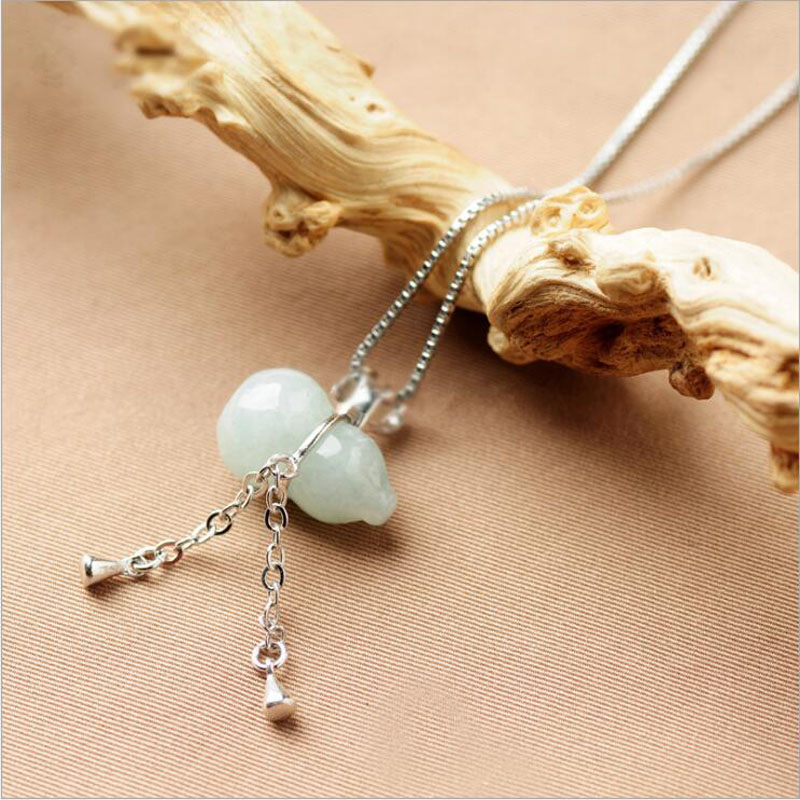 yu xin yuan 925 silver jade atural emerald gourd shape trendy charm necklace pendant for lovers gift
