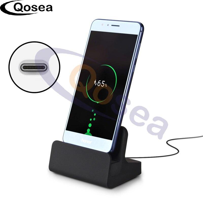 Qosea USB 3.1 Type-C Dock Chargeur Station De Recharge Pour Oneplus 5 3 3 T Samsung galaxy Note 8 S8 Plus Sony Xperia XZ1 Téléphone Charge