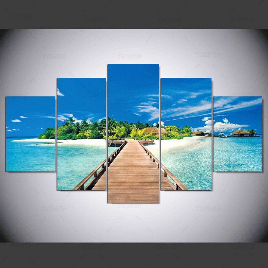 Home Decor Places: 5 Panel HD Printed Painting Most Beautiful Places In