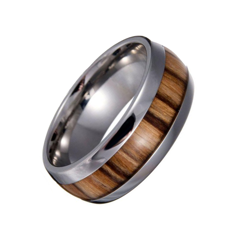 Vintage Wood Ring Stainless Steel Rings Men's Wedding Ring