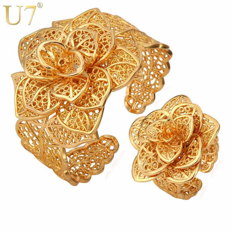 U7 Vintage Großen Armbänder Manschette Armbänder Und Ring Set Gold farbe Exquisite Muster Blume Schmuck-Set Für Frauen Hochzeitsgeschenk S561