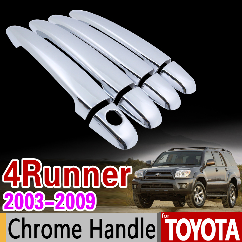 for Toyota 4Runner N210 2003 - 2009 Chrome Handle Cover Trim Set SW4 Hilux Surf 2004 2005 2007 Accessories Sticker Car Styling for suzuki splash 2007 2014 chrome handle cover trim set of 4door 2008 2009 2010 2011 2012 2013 accessories sticker car styling