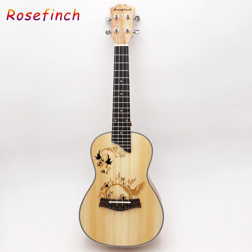 Ukulélé de Concert de 23 pouces 4 cordes en Nylon Mini guitare hawaïenne chaude musicale acoustique Ukelele épicéa bon sculpté électrique EQ UK2319