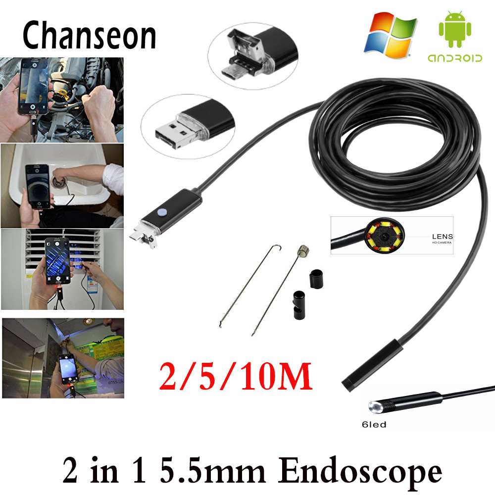 5.5mm Lens 2 IN1 USB Android Endoscope Camera 2m 5M 10M Snake Tube Pipe Inspection for Underwater Viewing Car Repair Endoscopio
