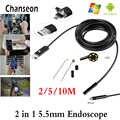 5.5mm obiektyw 2 IN1 USB Android kamera endoskopowa 2m 5M 10M inspekcja rur węża do podwodnego oglądania naprawa samochodów Endoscopio