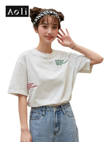 AOLI Womens t shirt Harajuku White Red Green Letter Embroidered Tee Loose Plus Size Casual Summer Korean Female tshirt DDT911023