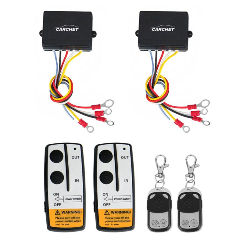 CARCHET Winch DC 12V Remote Control 2 sets Wireless Winch Remote Control Kit DC 12V 50 Feet for Jeep Truck SUV ATV 12v recovery wireless winch remote control 2 handset switch for jeep atv suv