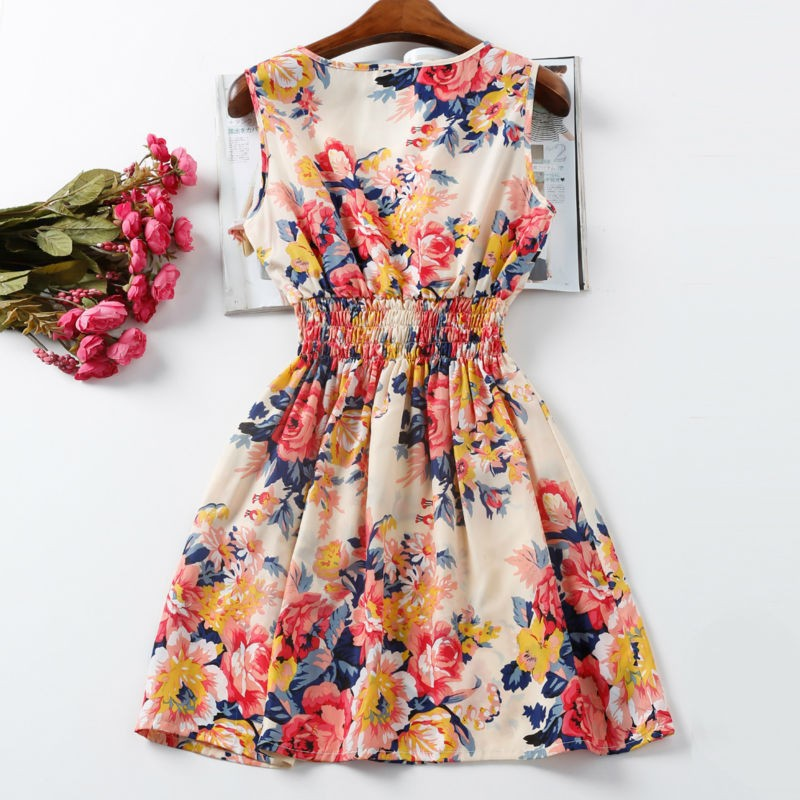 Women Sexy Chiffon Dress Sleeveless Sundress Beach Floral Tank Mini Dresses Vestido