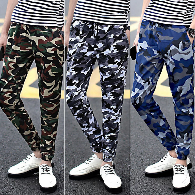2016 Casual Men Tactical Pants Army Camouflage Skinny Pants Military Cargo Pants Camo Men Sweatpants Joggers Male Trousers 50