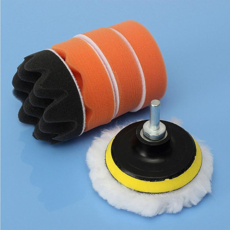 цена на Car polishing tools set 6Pcs 3 Inch Buffing Pad Kit Compound-Polishing-Auto Car Detail+Drill Adapter-M10