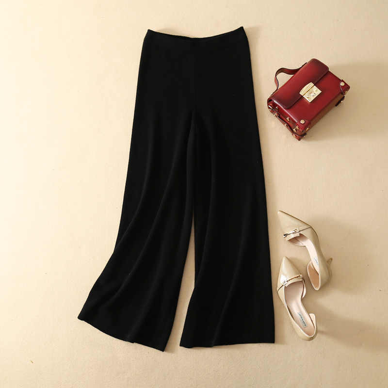 Women Cashmere Pants 2019 New Autumn Winter Loose High Waist Knitted Broad Leg Trousers Thicken Female Calf-Length Pants