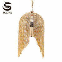 100 High Quality Gold Clutch Full Luxury Diamond Evening Bags Special Tassel Party Bag Women Shinny