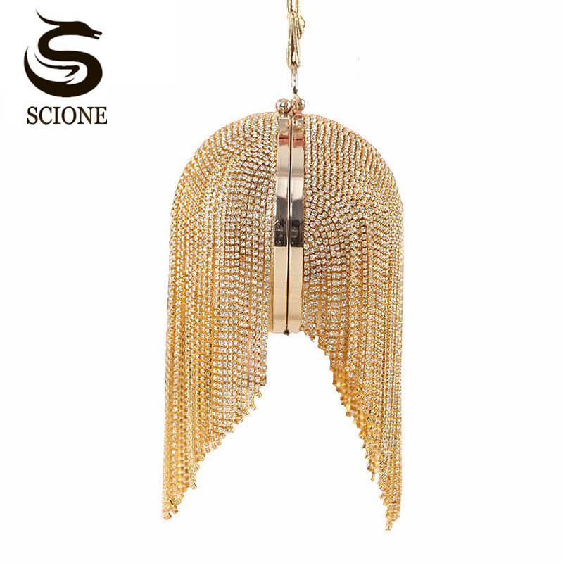 Gold clutch luxury evening clutch full diamond evening bags tassel chain party bag bling bling women round clutch purse w486 most famous brand style circular evening bags fashion gold clutch bag full luxury diamond tassel women bag purse bolsa feminina