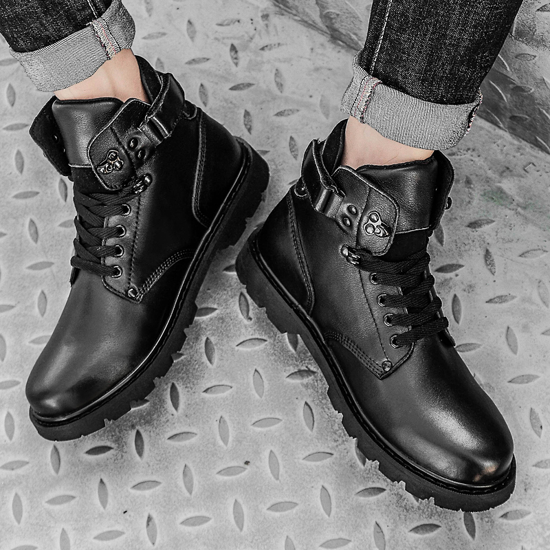 Genuine Leather Men Boots Comfortable Fashion Lace Up Ankle Snow Boots Waterproof Plush Fur Warm Boots Autumn Winter Shoes Men in Snow Boots from Shoes