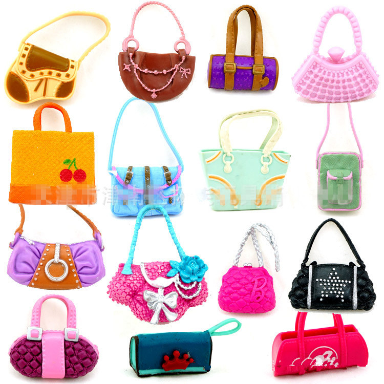 AILAIKI 100Pcs/lot  Wholesale Fashionable Casual Bags For 1/6 Girl Dolls Mixed Styles Doll Handbags Girl Birthday Gifts Toy 500pairs lot wholesale high quality high heel shoes for 30cm dolls mixed styles sandals slippers 10pairs pack doll shoes pack