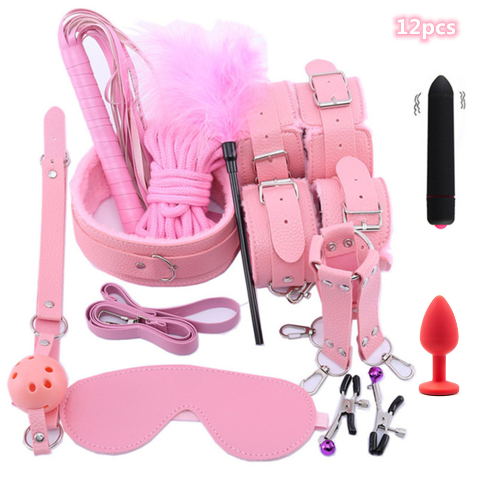 Erotic  Sex Toys For Women Leather BDSM Sex Bondage Set Bdsm Toys Sexy Lingerie Handcuffs Tail Anal Plug Vibration Sex Products