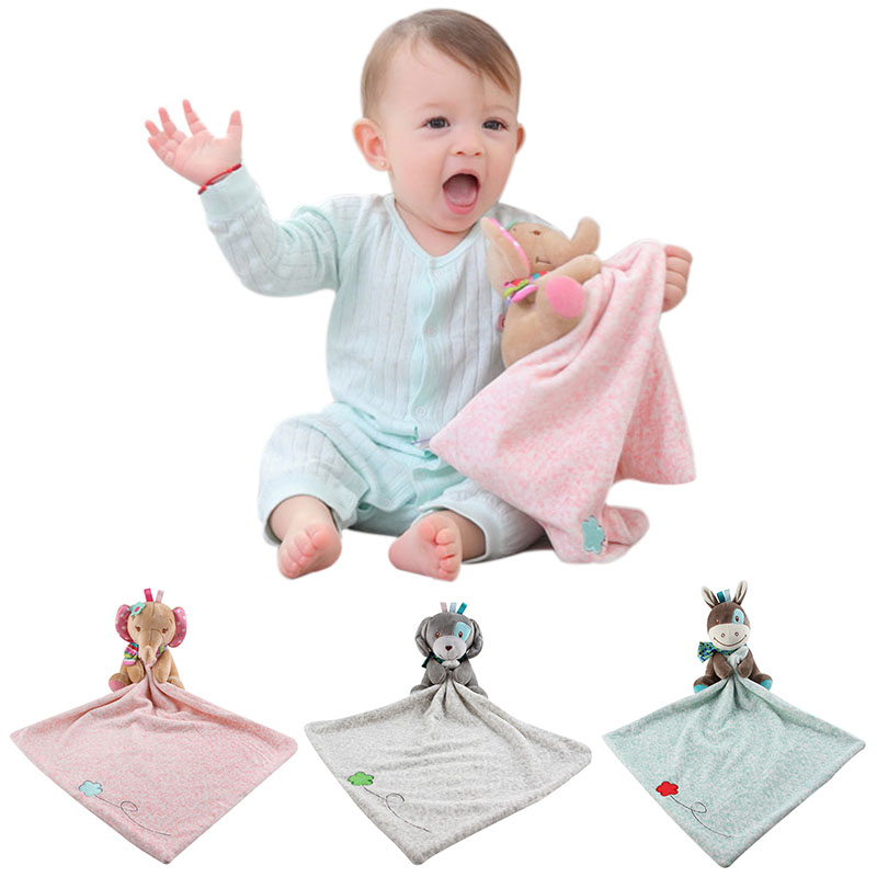 3 style Newborn Baby Towel Appease Grasping Soft Comforting Doll Baby Bath Towel Hand Towel Rattle Plush Cute