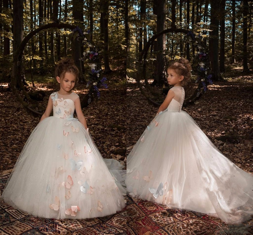 2018 Ivory Cute 3D Butterfly Floral Appliques Flower Girls Dresses for Wedding Cap Sleeves Tulle Little Girls Pageant Gown