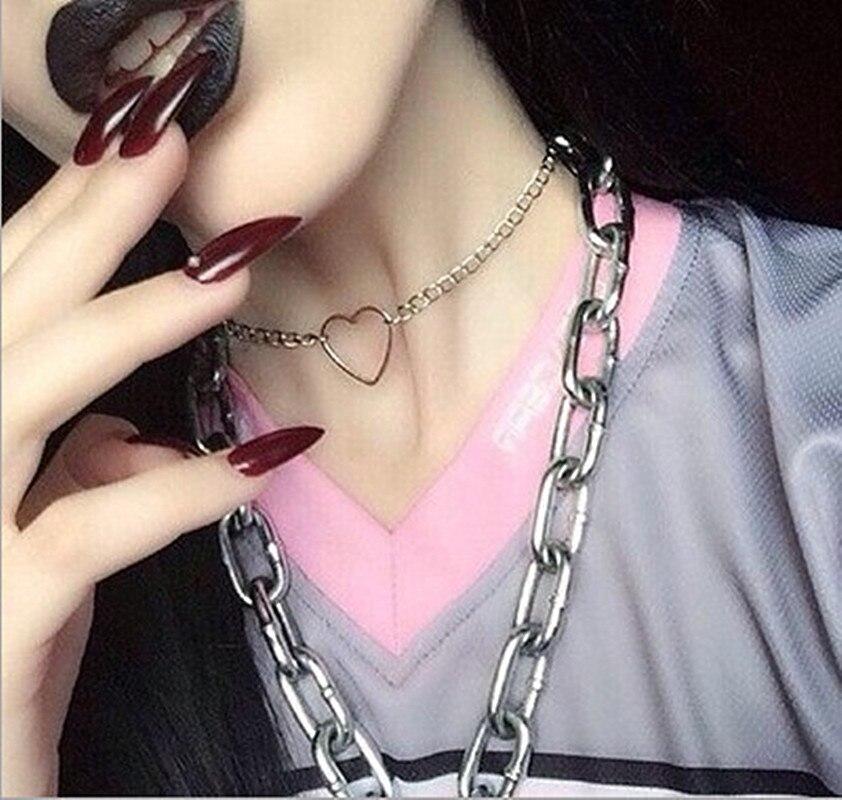 Love Heart Harajuku Hollow out Choker Women Korean Aesthetic Metal Collar Short Necklace